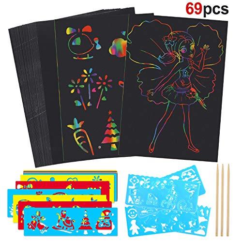HOWAF Kratzbilder Set für Kinder, 50 Blätter Kratzer Malerei Papier Kratzpapier Scratch Art zum Kinder Zeichnen und Basteln Geschenke & Spielzeug für Kinder | mit 16 Schablonen, 3 Holzstiften