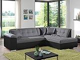 Bestmobilier - Colombia - Canapé d'angle Convertible - Bicolore - en Simili et Tissu - Droit
