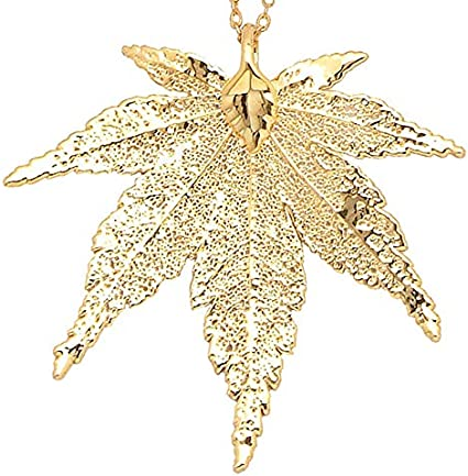 24k Gold Dipped Japanese Maple Leaf with Gold-Plated Chain