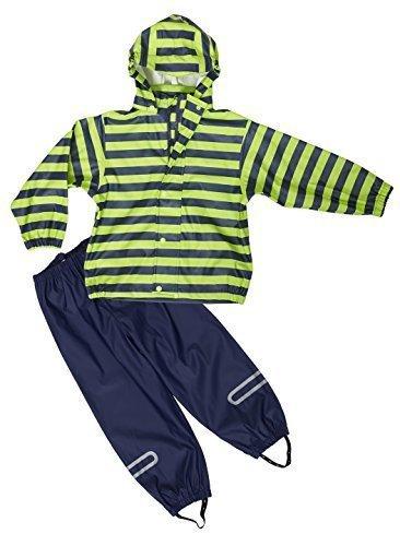 Elka 092511199098 Made in Europe Regenanzug mit Hose und Jacke, Größe 98, Marineblau, Mehrfarbig-Marine/Lime