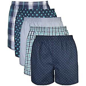 Gildan Men's Woven Boxer Underwear Multipack, Assorted Navy (5-Pack), Medium