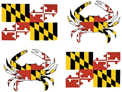 wheezeway Maryland Flag Crab  Sticker  4 MD Vinyl Stickers , 2 Flags (3 x 5) 2 Crabs (5 x 3.75)Auto Truck SUV Water Bottle Window Scrapbooking Decal Scrapbooking