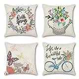 JOTOM Atmungsaktive Kissenbezug Blumen Schmetterling Home Dekoration Pillowcase Sofakissen für...