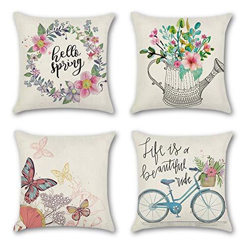 JOTOM Atmungsaktive Kissenbezug Blumen Schmetterling Home Dekoration Pillowcase Sofakissen für Wohnzimmer Sofa Bed Auto 45x45cm Set (Frühling A)