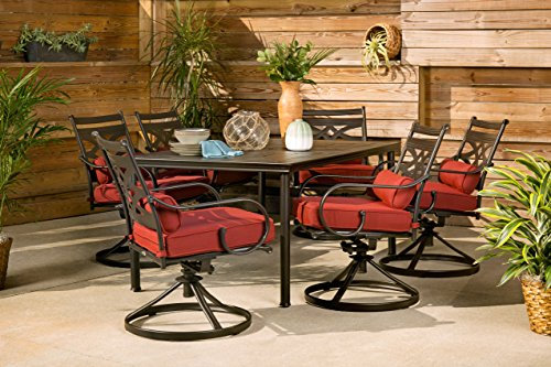 """Hanover Montclair 7-Piece All-Weather Outdoor Patio Dining Set, 6 Swivel Rocker Chairs with Comfortable Chili Red Seat and Lumbar Cushions, 40""""x66"""" Stamped Rectangle Table, MCLRDN7PCSQSW6-RED"""