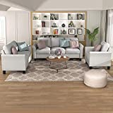 Recaceik Chair Couch Living Room Furniture Sofa Sets (1 loveseat+3-seat, Light Gray)
