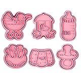 Cortador De Galletas, 6 Unids/Set Cortadores De Galletas Serie Infantil Patrón Multifunción Plástico 3D Donuts Molde para Hornear Accesorios De Cocina Rosado
