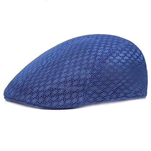 ileibmaoz Barett Baskenmützen Herrenmütze Baskenmütze Mesh Atmungsaktiv Einfache Hohle Sonnenblende Mütze-Azul_56-58Cm