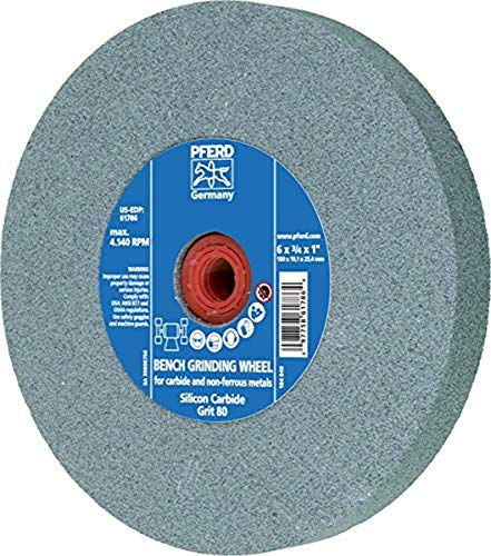 PFERD 61786 Bench Grinding Wheel, Silicon Carbide, 6' Diameter, 3/4' Thick, 1' Arbor Hole, 80 Grit, 4140 Maximum RPM