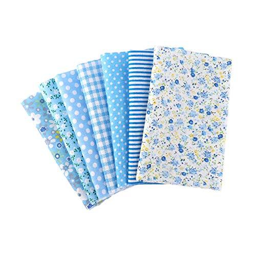 Baumwollstoffpaket, 50 x 50 cm, 100 % Baumwolle, Quiltstoff, Wickeltuch, Stoffbündel für DIY Patchwork Nähen (blau)