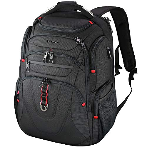 KROSER Travel Laptop Backpack 17.3 Inch XL Heavy Duty Computer Backpack Water-Repellent College Daypack Check Point Friendly Business Backpack with RFID Pockets & USB Port for Men/Women-Black