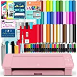 Silhouette Pink Cameo 4 Starter Bundle with 38 Oracal Vinyl Sheets, T-Shirt Vinyl, Transfer Paper, Class, Guides and 24 Sketch Pens