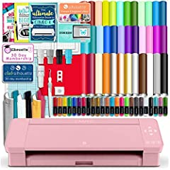 Blush Pink Silhouette Cameo 4 with Bluetooth, Lifetime Support and Manufacture's 1 year Warranty. No Internet Connection Required, No Need to Buy Designs or Fonts, This package lets you Create Your Own Designs Without Spending More Money. 38 Sheets o...