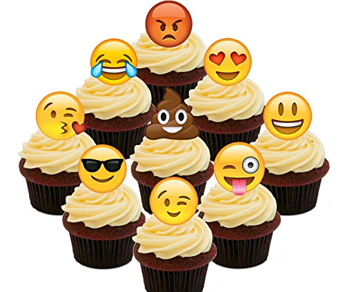 Made4You Emoji/Smiley Faces Party Pack - Edible Cupcake Toppers - Stand-up Wafer Cake Decorations (Pack of 36)