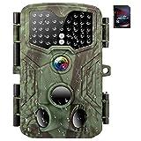 トレイルカメラ 16MP 1080P HDデジタル防水狩猟スカウティングカム 120度広角レンズ 0.3秒トリガースピードモーション活性化ナイトビジョン 野生生物モニタリング用 SDカード付き日本語説明書