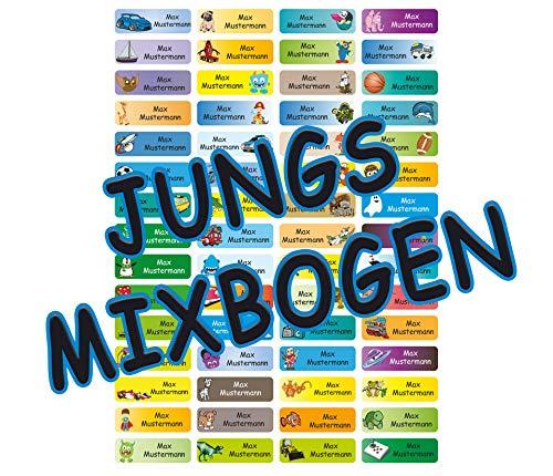 Sunnywall® Namensaufkleber Namen Sticker Aufkleber Sticker 4,8x1,6cm | 60 Stück für Kinder Schule und Kindergarten 60 Hintergründe MIX-Bogen (76 MIX-Jungs)