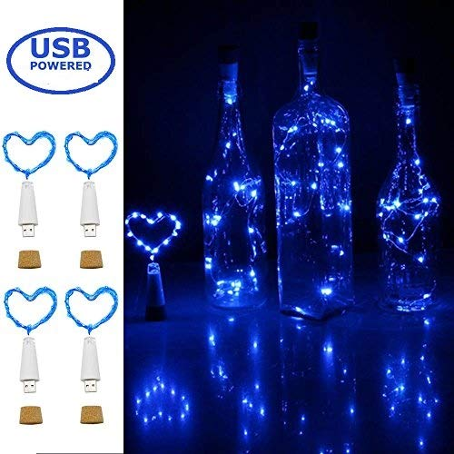 Wine Bottle Cork Lights,USB Powered Rechargeable Copper Wire String Starry 32inch 15 LED Light for DIY,Party,Home Decor,Christmas,Wedding or Mood Lights Warm White (USB Powered Blue 4 Pack)