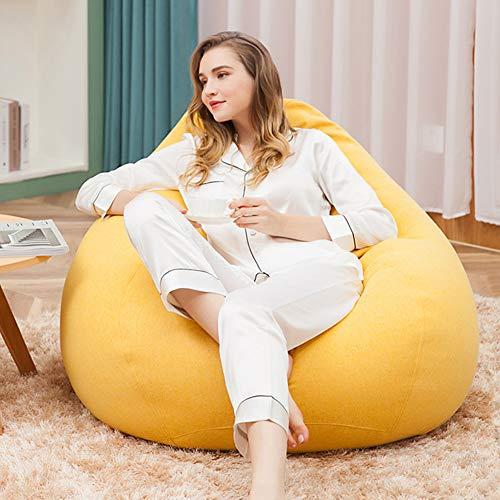 Sofá sin esqueleto perezoso ligero perezoso moderno minimalista tela sofá de un solo dormitorio sofá puf bolso amarillo limón
