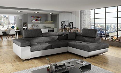 Ecksofa Antos mit Schlaffunktion Bettkasten Seite Rechts und Links Sofa Möbel 23 (Sawana 05+Soft 17, Rechts)