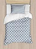 Fashions Home Bedding - Juego de ropa de cama con formas circulares ópticas abstractas de estilo moderno, color azul y blanco, elasticidad duradera – Individual