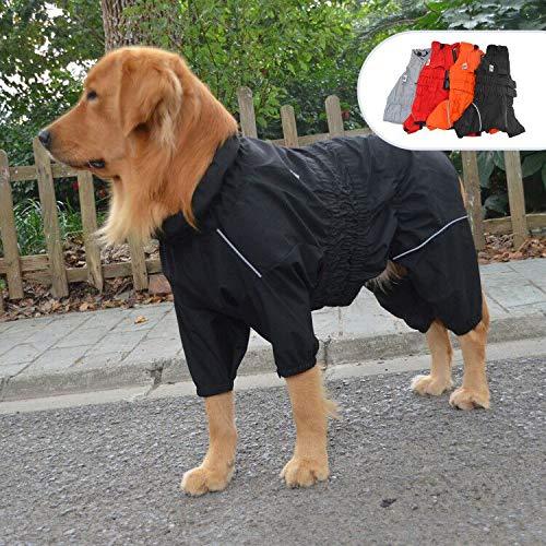 lovelonglong Winter Wasserdicht Hundemantel, Reflektierend Hundejacke Rollkragen Warm Hundejacke Sicherer Hund Regenmantel Winddichte Schneesichere Hundeweste für Kleine Mittel Große Hunde Black 4XL