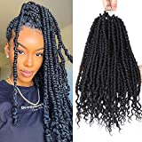 Junbeauty 6 Packs Pre-twisted Spring Twist Hair 14 inch Pre-Twisted Passion Twists Crochet Braids Synthetic Crochet Hair Extensions Ombre Colors Fluffy Curly Twist Braiding Hair (Black 1B#)