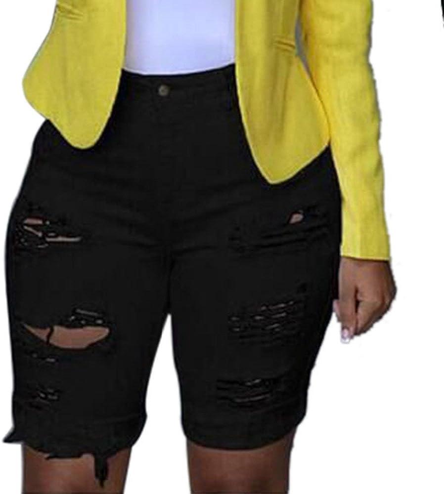 Women's Fashion High Waist Ultra Stretch Hole Denim Shorts Casual Slim Pocket Hot Pants Denim Shorts