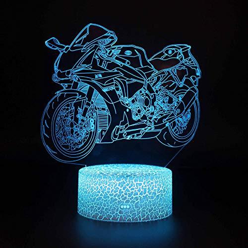 Luz de noche de juguete de regalo LED de carreras de motos 3D, lámpara de decoración regulable con control remoto táctil inteligente de 16 colores con USB y batería-05