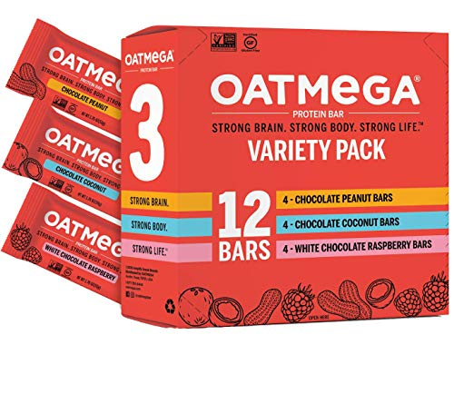 Oatmega Protein Bars, Variety Pack, 12-Count of Chocolate Peanut...