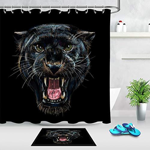 AdaCrazy Roaring Panther Leopard Duschvorhang Set Badezimmer Polyester Stoff Haken Bad Vorhang 71x71 Zoll Enthält 12 Kunststoffhaken Wasserdichtes Material Flanell Badematte 40x60cm