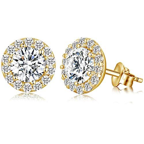 Halo Earrings Womens Halo Earrings ZowBinBin Halo Earrings Yellow Gold Halo Cubic Zirconia Earrings Nickel Free Sterling Silver Cubic Zirconia Earrings Fake Diamond Earrings for Women Men