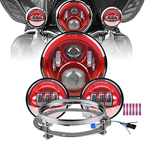 "Atubeix 7 inch Led Headlight 4-1/2"" 4.5 inch Matching Passing Lamps assembly for Classic Electra Touring Road King Street Glide Heritage Softail with Fat boy with Mounting Ring (Red)"