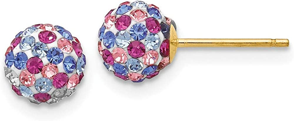 14k Yellow Gold Post Stud 6mm Blue Pink Multi Crystal Ball Earrings Button Fine Jewelry For Women Gifts For Her