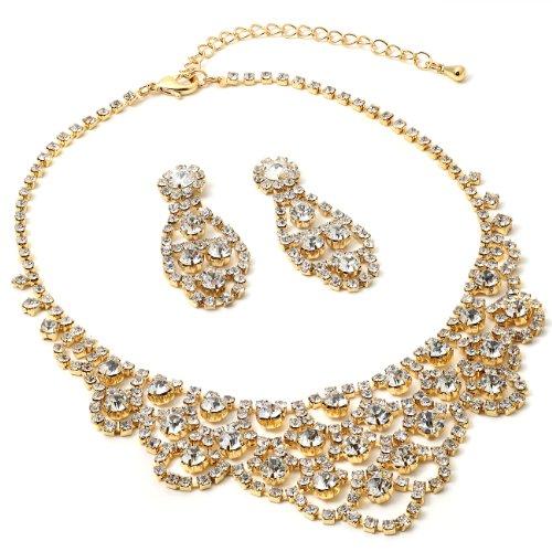 Topwholesalejewel Gold Crystal Rhinestone Chandelier Drop Dangle Earrings & Chandelier Wave Shaped Necklace Jewelry Set