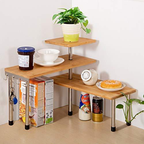 Olive Upgarde 3 Tier Desktop Organizer Office Kitchen Corner Shelf Unit Spice Rack Adjustable Bamboo Storage Rack, Bamboo Freestanding Counter top Display Shelf Plant Rack (with Hooks)