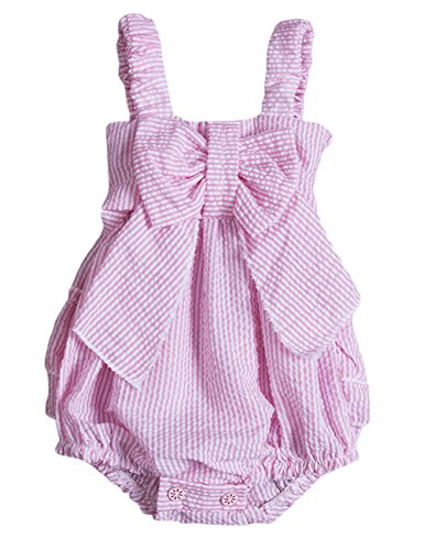 Charm Kingdom Baby Girls Striped Seersucker Bubble Straps Ruffle Layers Bowknot Romper (70(0-6M)) Pink