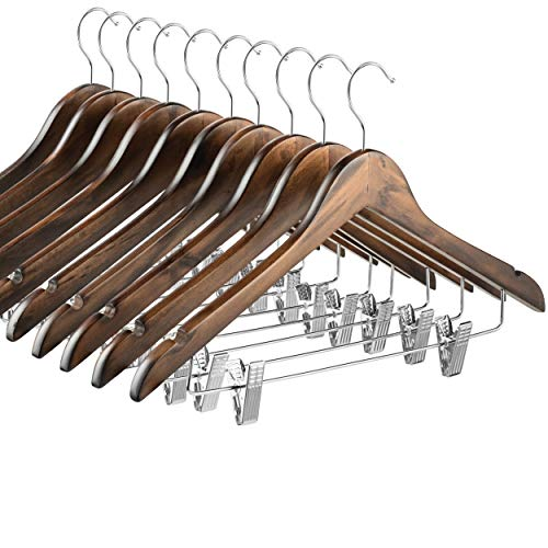 High-Grade Wooden Suit Hangers Skirt Hangers with Clips 10 Pack Smooth Solid Wood Pants Hangers with Durable Adjustable Metal Clips 360° Swivel Hook Shoulder Notches for Dress Coat Jacket Blouse