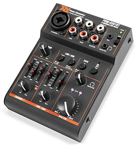 Power Dynamics PDM-D301BT - 3-Kanal-Mixer, USB-Mischpult, Bluetooth, Audio-Streaming, Phantomspeisung, Stereo- und Mono-Eingangskanal, 2-Band-Equalizer, Master-Regler, Gain-Regler, schwarz