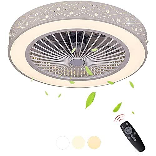 Ventilador de techo con luces Control remoto Velocidades de viento ajustables Ventilador Invisible Luz de techo regulable de 3 colores con temporizador de ventilador para sala de estar Comedor Ø56cm