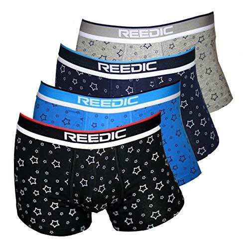 Reedic Herren Boxershorts Baumwolle mit Sternen-Motiv im 4er Pack, Größe X-Large (XL), Farbe je 1x schwarz, blau, dunkelblau,grau