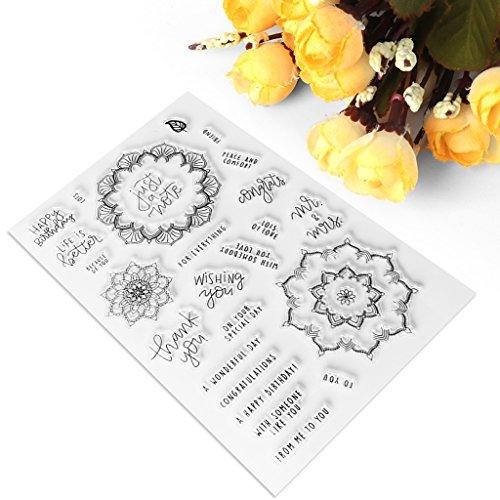 exing plantilla transparente de silicona, tuercas de sello de tuercas para el álbum de recortes de fotos de tarjeta, forma Florale, deseos tema