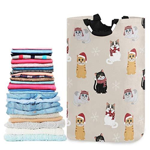 Cesta de lavandera plegable con lindo gato con disfraz de Navidad y copos de nieve Cesta de lavandera grande con asa, juguetes y organizacin de ropa para bao, dormitorio, hogar, dormitorio, viajes