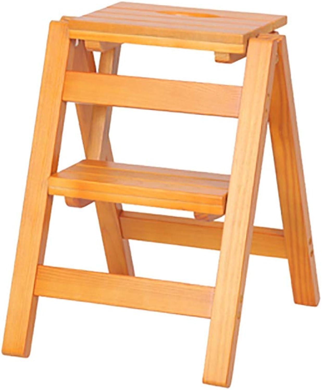 Solid Wood Multi-Function Folding Ladder Two-Step Ladder Chair Frame Ascending Ladder Bench Storage Step Shelf (color   B, Size   38  44  51cm)