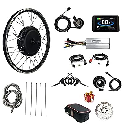 """RICETOO 48V 1500W 24"""" Front Wheel Electric Bicycle Conversion Motor Kit with Brushless Gearless Hub Motor with KT-LCD8H Color Display."""