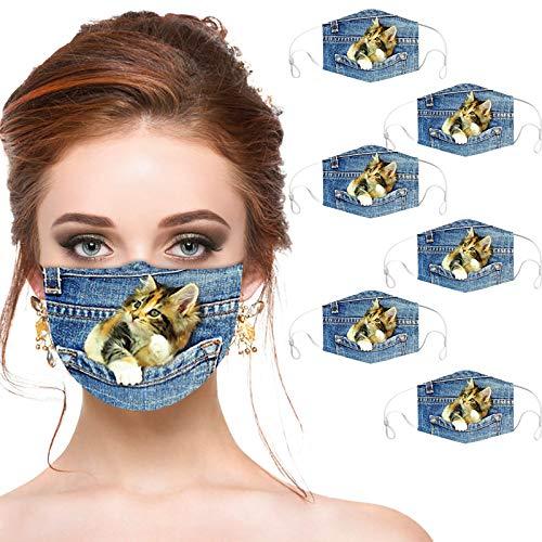 Padaleks 6 Stücke Denim Mund NasenschutzMIT mit 3D Katze Motive Lustig Waschbar Multifunktionstuch Atmungsaktive Mund-Tuch Bandana Halstuch Schals für Damen Herren