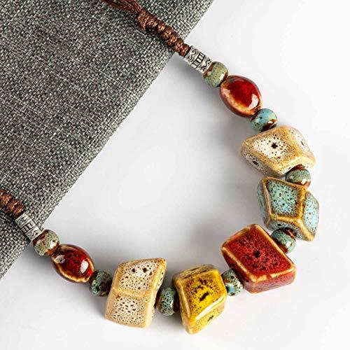 VAWAA Colorida Forma Irregular de cerámica Cuentas neckalce artware Antiguos Collares al por Mayor Colgantes para Las Mujeres