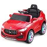 Costzon Kids Ride On Car, Licensed Maserati Battery Powered Vehicle, Parental Remote Control & Manual Modes w/ Opening Doors, Swing Function, Bluetooth, USB, MP3, Horn, Music, LED Lights (Red)