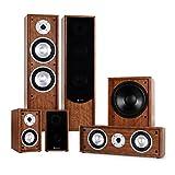 Auna Linie-300-WN 5.1 Sistema de Sonido Home Cinema (515W Potencia RMS, subwoofer 10', Amplificador, Altavoces de estanteria, Altavoz Central) - Nogal