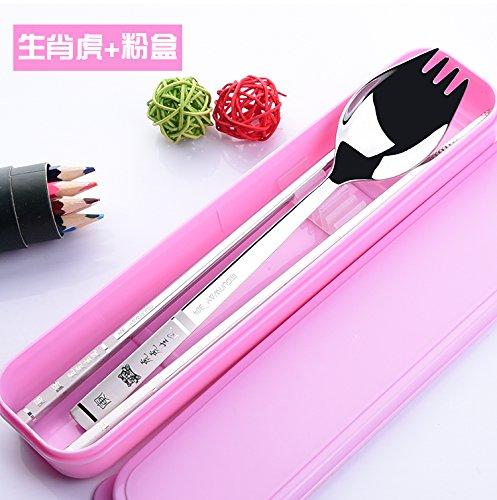 Xing Lin Couverts Vaisselle portable en acier inoxydable, Zodiaque douze baguettes cuillère fourchette, cuillère, cuillère, fourchette dans un zodiac,Cartouche Tiger (Envoyer) sac filet