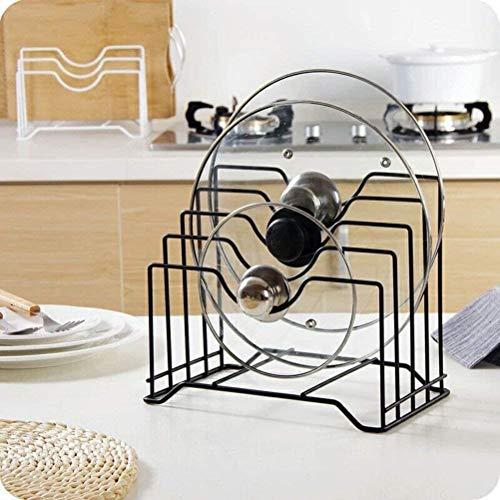 BLEQYS Multifuncional gabinete de cocina despensa cacerola y olla tapa organizador estante soporte multifuncional utensilios de cocina tabla de cortar organizador estante de almacenamiento